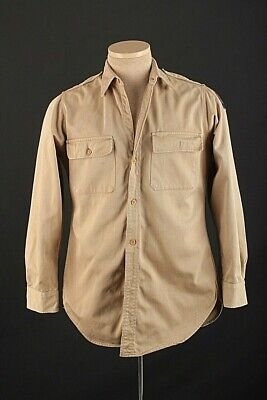 1940s Men's Shirts, Sweaters, Vests Men's 1940s USAAF Khaki Uniform Shirt Small Reg 40s Vtg Army Air Force $37.99 AT vintagedancer.com