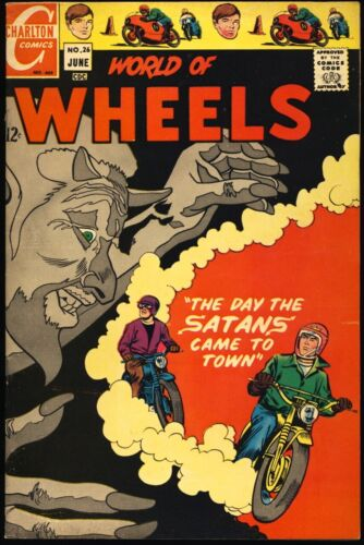 """WORLD OF WHEELS #26 1969 VF- """"The Day The Satans Came To Town"""" SATAN COVER"""