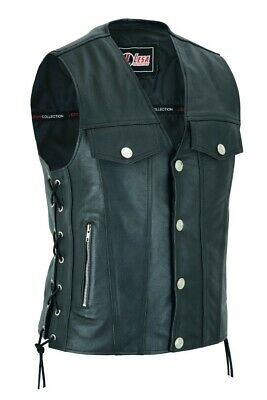 Mens Real Leather Waistcoat Motorcycle Biker Style Black Side Laces Vest