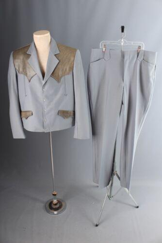 Vtg Mens 1970s Tregos Western Suit Jacket 46 Pants 36x35 70s Polyester Leisure