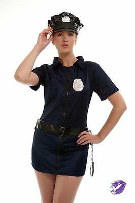 LADIES POLICE FANCY DRESS COSTUME CHEAP SEXY COP HEN OUTFIT HALLOWEEN  (Cheap Police Woman Halloween Costumes)