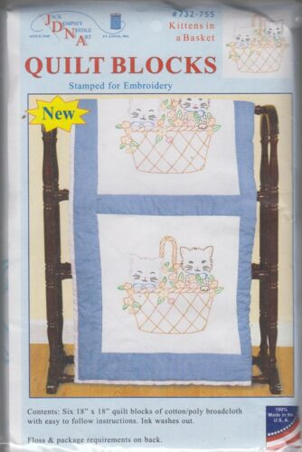 1 Pk Jack Dempsey Kittens in a Basket Stamped Embroidery Quilt Blocks