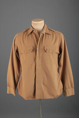 1940s Men's Shirts, Sweaters, Vests Men's 1940s WWII US Army Officers Shirt Medium 15x31 40s WW2 Vtg Uniform $44.99 AT vintagedancer.com