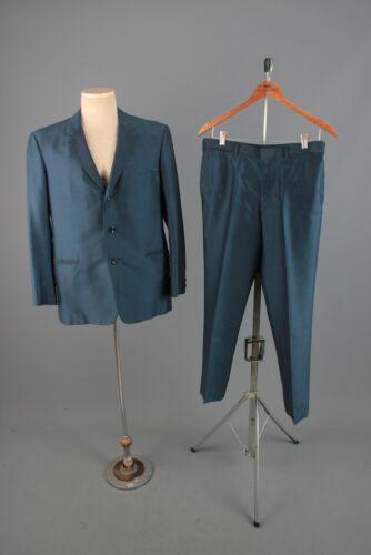 Mens 1960s Thai Made Blue 3 Button 3 pc Suit Jacket M 2 Pairs Pants 32W 60s Vtg