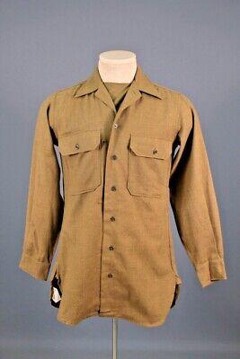 1940s Men's Shirts, Sweaters, Vests Men's 1940s WWII US Army Wool Uniform Shirt 13.5x32  XS 40s OD WW2 Vtg $49.99 AT vintagedancer.com