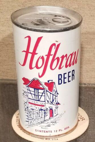 1968 BOTTOM OPEN HOFBRAU STRAIGHT STEEL PULL TAB BEER CAN ALLENTOWN PA