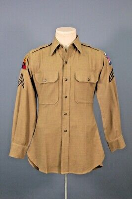 1940s Men's Shirts, Sweaters, Vests Men's 1940s WWII US Army Wool Uniform Shirt W Patches Small 40s WW2 Vtg $44.99 AT vintagedancer.com