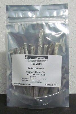 Tin Metal Sticks 7.59mm Dia. Acs 99.5 Certified 500g