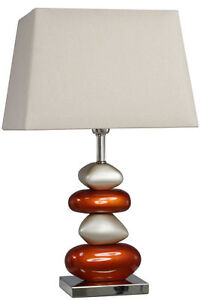 Terracotta Orange Medium Pebble Table Lamp Silk Shade