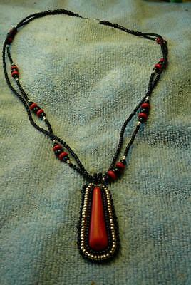 Red Turquoise with Black Onyx Beaded Necklace - Native American Indian
