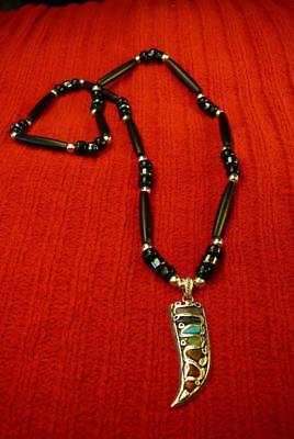 Mens Gemstones Claw w Black Buffalo Bones Necklace - Native American (Native American Indian Buffalo)