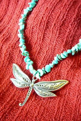 Turquoise Silver Dragonfly Necklace- 25 inches - Native American Indian Dragonfly Native American
