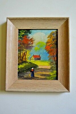 minature Oil painting of a rural scene signed by Carl Roth