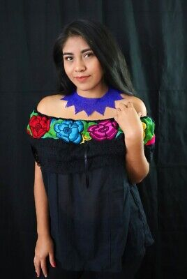 Handmade Womens Embroidered Mexican Blouse Medium Off the Shoulder Cinco de Mayo
