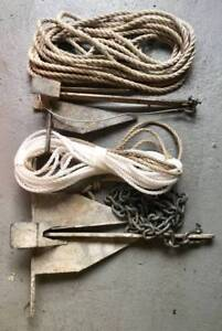 FISHING BOAT SAND ANCHORS CHAIN AND ROPE TINNIE BOW STERN