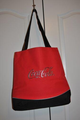Large Coca Cola Canvas Tote Bag Vendor Promo w/Raised Silver Logo Red/Black