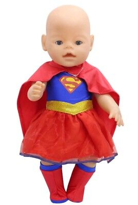 Puppenkleidung, Kostüm, Superman, blau/rot, 43 cm, zb. Baby Born/Sister, NEU
