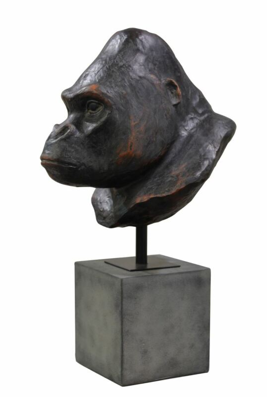 "23""H Replica African Silverback King Kong Gorilla Primate Ape Head/Bust on Stand"