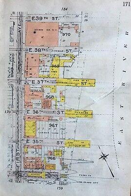 Orig 1912 National Coke Coal Co  Hells Kitchen Midtown Manhattan Ny Atlas Map