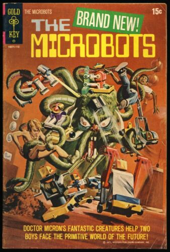 """MICROBOTS #1 1971 """"Day Of The Juggernaut"""" GOLD KEY PAINTED COVER"""