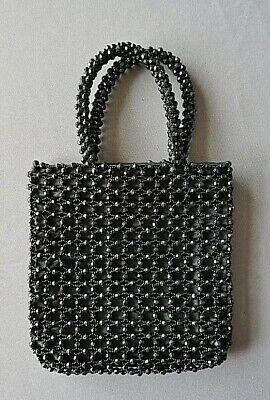 Perlen Abend Handtasche (schwarze Perlen-Handtasche Abendtasche Vintage)