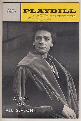 "Paul Scofield  ""A Man For All Seasons""   Playbill  1961   Broadway"