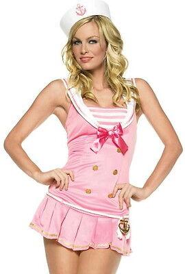 Shipmate Cutie Womens Sexy Halloween Costume sz M/L NEW Pink Sailor Dress