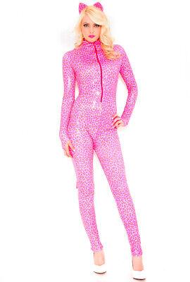 Sexy hot pink cheetah print catsuit music legs