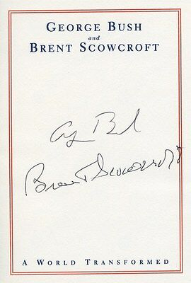 George H W Bush Signed Autographed Official Bookplate A World Transformed 10