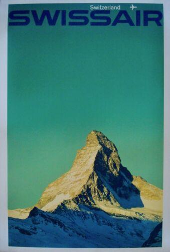 SWISSAIR SWITZERLAND Vintage 1964 poster AIRLINES MANFRED BINGLER 25x40 NM LINEN