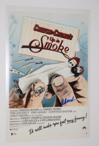 Cheech Marin & Tommy Chong Signed 12x18 Movie Poster Photo UP IN SMOKE BAS COA