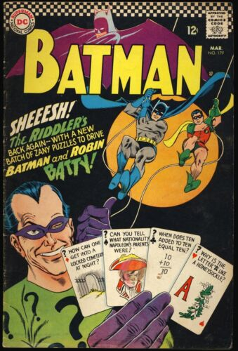BATMAN #179 1966 2ND APPEARANCE SILVER AGE RIDDLER Gil Kane Cover