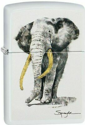 "Zippo Lighter Spazuk ""Elephant No 29844 on white matte finish - New"