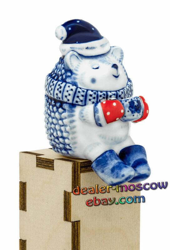 Russian Porcelain Author Gzhel Figurine Lovely Hedgehog Tea Drinking Statuette