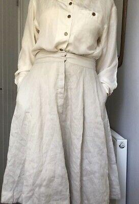 ILSE JACOBSEN 100% Linen Cream Beige Flare Midi Skirt Size M 12