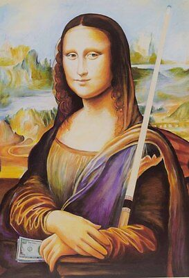 "New Mona Lisa Billiard Poster - Pool Cue Billiards - 20"" x 28"" - FREE SHIPPING"