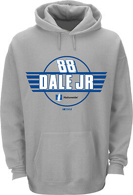 Dale Earnhardt Jr  88 Nationwide Grey Fan Up Hooded Sweatshirt