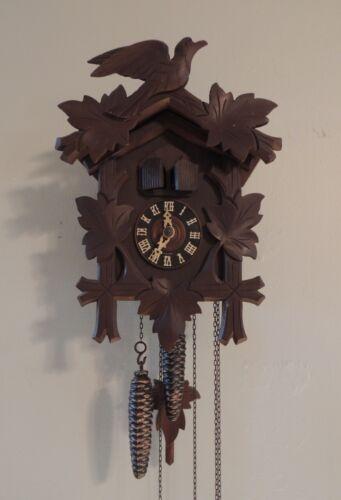 Vintage Schmeckenbecher Rugla Cuckoo Clock Hand Carved Bird Black Forest Germany
