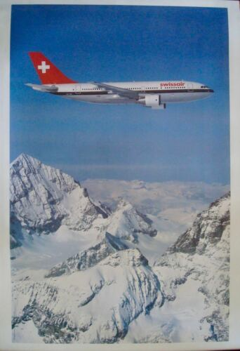 SWISSAIR AIRBUS A310 SWISS ALPS Vintage 1983 poster AIRLINES 25x40 NM LINEN RARE