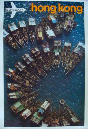 SWISSAIR AIRVIEW HONG KONG Vintage 1971 poster AIRLINES GERSTER 25x40 NM LINEN