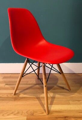 Eames Style Red Molded Plastic Dowel Leg Side Chair Charles and Ray Eames Herman for sale  New York