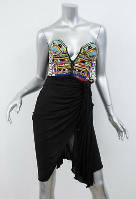 EMILIO PUCCI Womens Black+Multicolor Beaded Draped Bustier Strapless Dress XXS