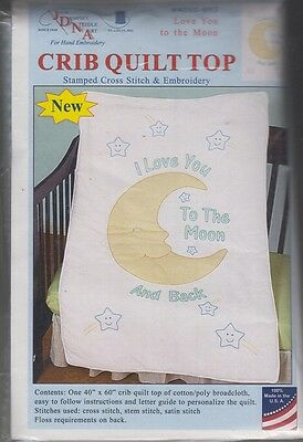 "1 Jack Dempsey ""Love You to the Moon"" Stamped XStitch-Embroidery Crib Quilt Top"