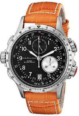 Hamilton Khaki Aviation ETO Chrono Orange Leather Men Watch H77612933 New Orig