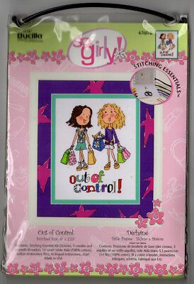 Bucilla Counted Cross Stitch Kit So Girly Out of Control Shopping Cute DIY Craft (Girly Diy)