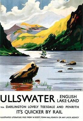 Vintage Rail advertising travel railway poster  A4 RE PRINT Ullswater
