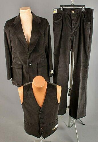 Vtg Mens NOS 1970s Lee 3pc Black Velvet Leisure Suit Jacket 40 L Pants 33x36 70s