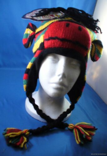 Wholesale Lot Of 48 Rasta Sock Monkey Hat Knit Plush Men Ladie Kid Reggae Warm