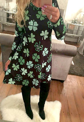 Womens St Patrick day DRESS Irish day SWING flared skater dresses lot size 8-16 ()