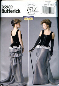 BUTTERICK-5969-Steampunk-Victorian-Edwardian-Corset-Skirt-Sewing-Pattern
